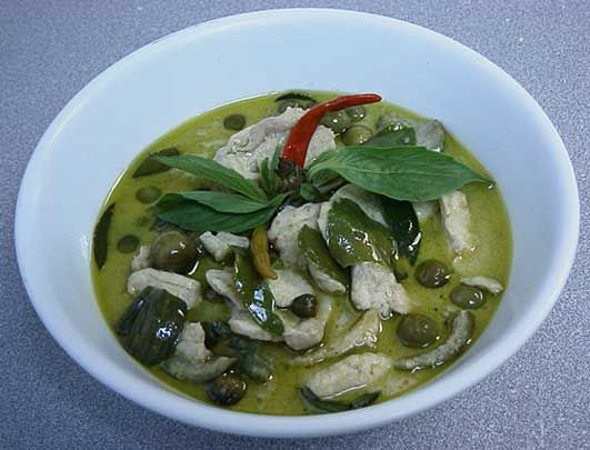 My favorite dish ever! Authentic Thai recipe for Thai Green Curry with Chicken & Eggplant, 'Gaeng Khiao Wan Gai' from ImportFood.com.