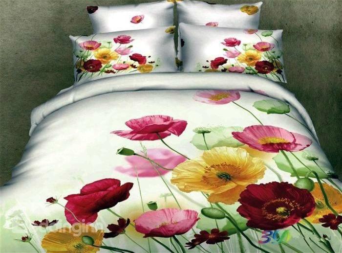3D Colorful Pansy Printed Cotton 4 Piece Bedding Sets/Duvet Cover
