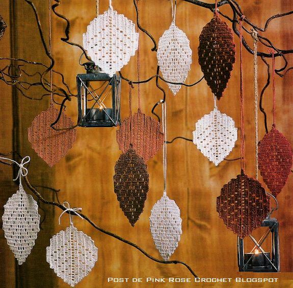 Filet crochet Autumn leaves - pattern