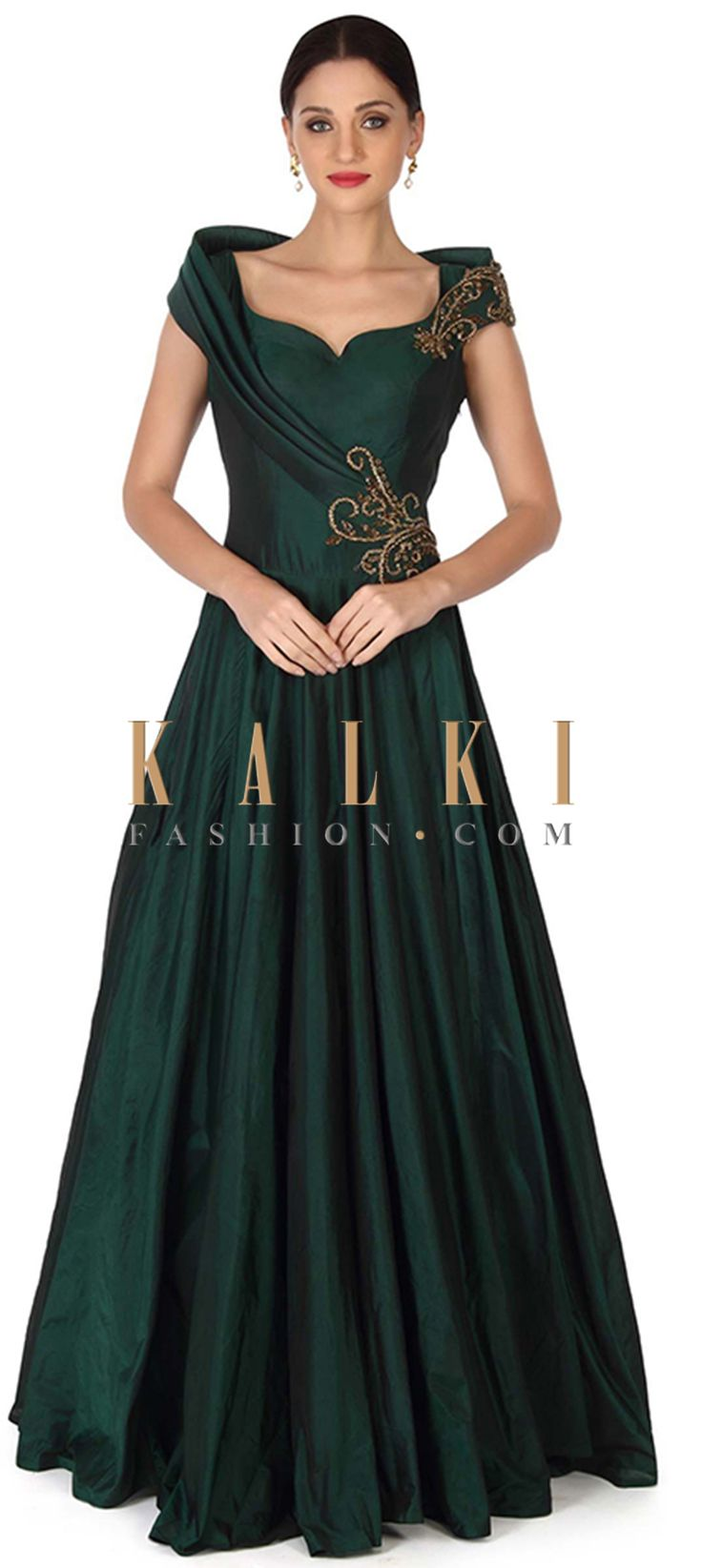 Buy this Green gown embellished in embroidered butti only on Kalki