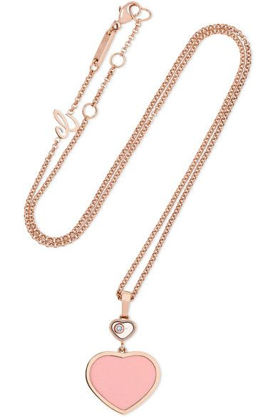 814694a107e407 Chopard   Happy Hearts 18-karat rose gold, diamond and stone necklace    NET-A-PORTER.COM