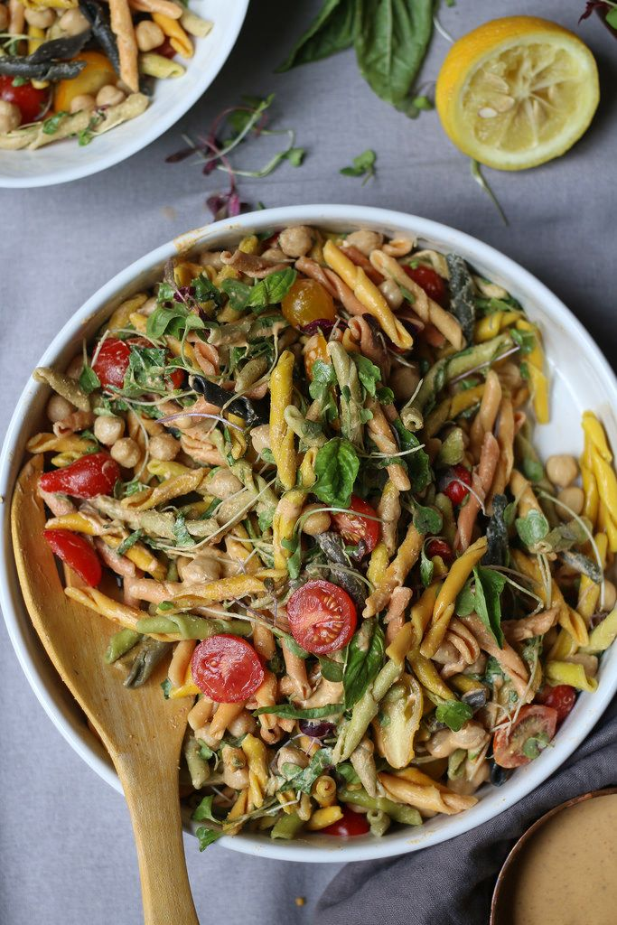 Chickpea-Cherry Tomatoes-Basil Pasta Salad in a Peanut-Curry Dressing  foodfashionparty 