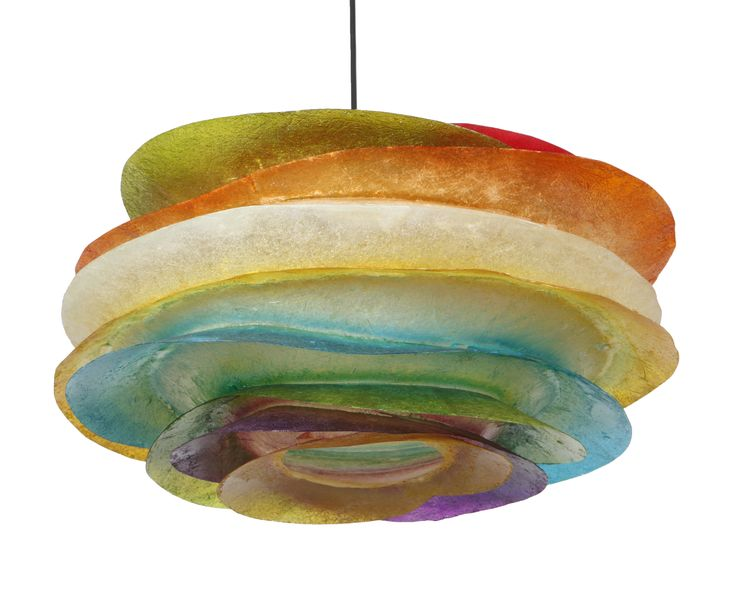 ''Big fins multi'' - Hanging fiberglass Hanging lighting fixture made out of fiberglass.  Dimensions: Height: 27cm Width: 54cm  It comes complete with an E27 bulb holder and you can use as much wattage as you need. Fiberglass can take as much wattage as you need, without any concerns.  We use 25W bulbs in our photos, so that their colors can be clearly recognisable.  For more pics, pleace cut and paste the following link: http://gshopspot.gr/product.php?product_id=2