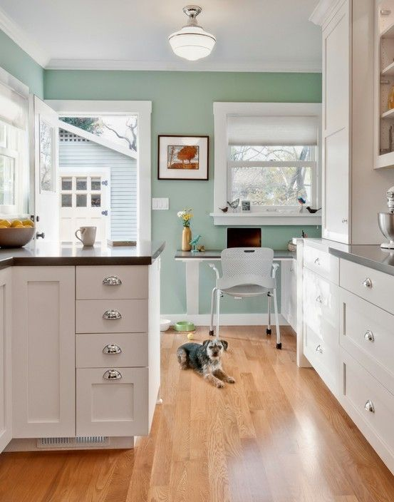 The Pretty Aqua Paint Color Benjamin Moore Kensington Green 710 By Joan Kitchens Dining Room Inspiration In 2018 Pinterest Kitchen Decor