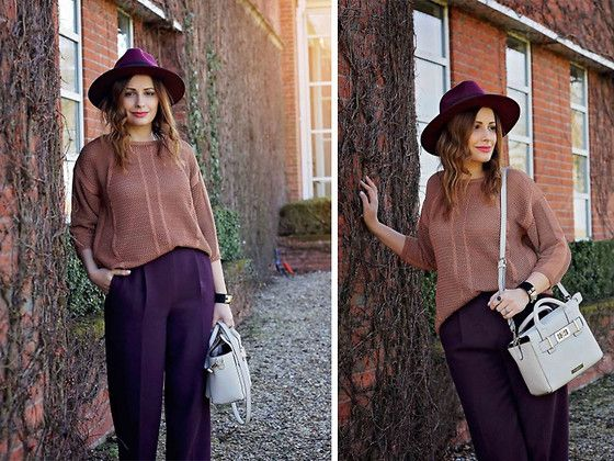 Get this look: http://lb.nu/look/7863554  More looks by Elena Sandor: http://lb.nu/eileen08  Items in this look:  Marks & Spencer Jumper, Zara Trousers, Missguided Hat, Carvela Bag   #bohemian #romantic #boho #fall #trends #falloutfit #elegant #artistic #formal