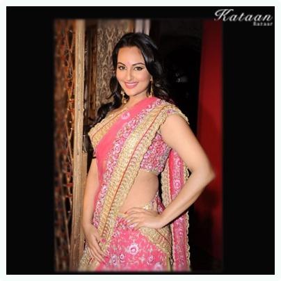 #Sonakshi Sinha in a gorgeous Pink saree