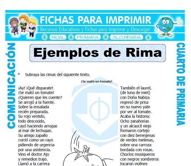 Comunicación Integral Para Cuarto De Primaria 38 Fichas Gratis Palabras Que Riman Comprensión Lectora Primaria Actividades De Rimas