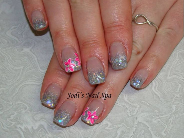 Acrylic with glitter fade, free hand flowers and rhinestones