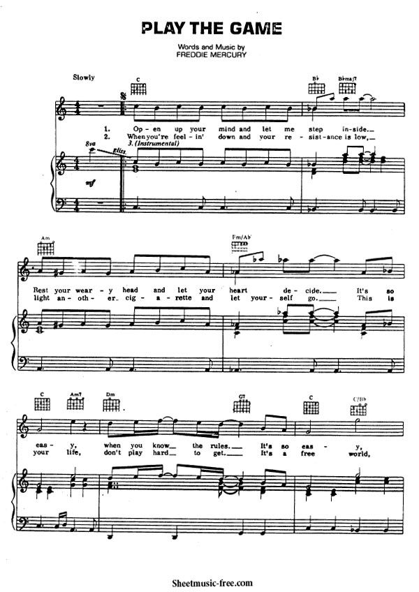 Play The Game Sheet Music Queen Con Imagenes Partituras Free