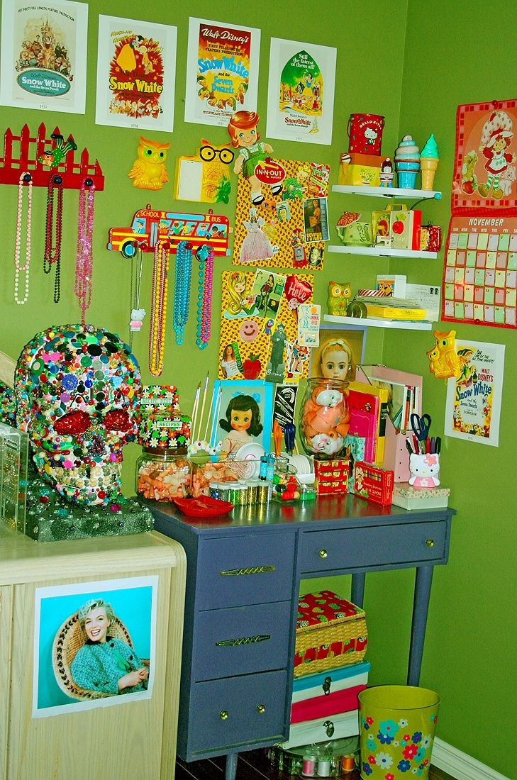 a clutter of kitsch home decor for the home