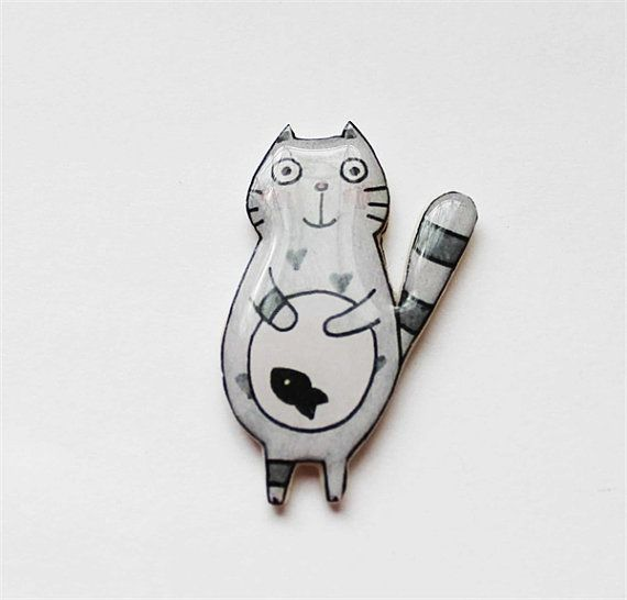 Free shipping Brooch - animal brooch-Grey cat with fish, polimer clay brooch, gifts under 25