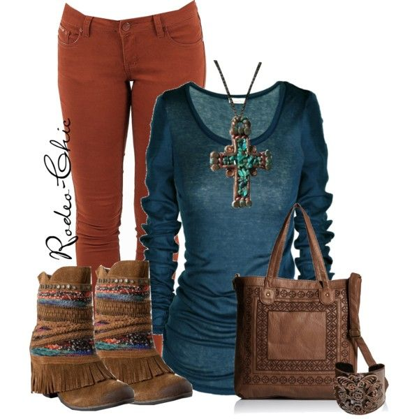 Rusted Copper by rodeo-chic on Polyvore. Naughty monkey fringe boots, Turquoise cross necklace available at GiddyUpGlamour @malloryparrish