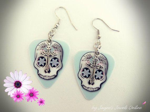 Gothic cross Guitar Pick Earrings Skull by JaynesJewelsOnline