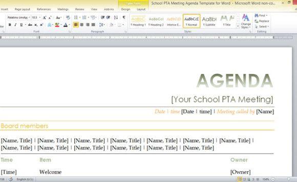 school PTA meeting agenda template for Word