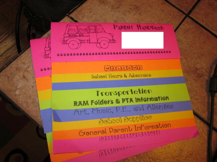 Parent Handbook Flip Book for Back to School Night! I'm so doing this!