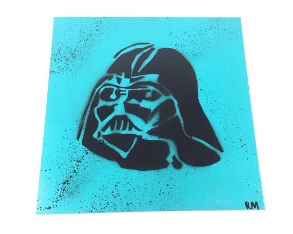 This is a 12 x 12 canvas with a spray paint background and Darth Vader stencil, all stencils were hand cut by me. Since this is spray paint it can