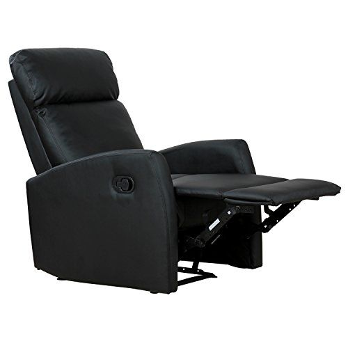 Homcom Fauteuil de Relaxation inclinable 180 avec Repose-Pied Ajustable Simili  Cuir Noir 84BK ae21cffaaaff
