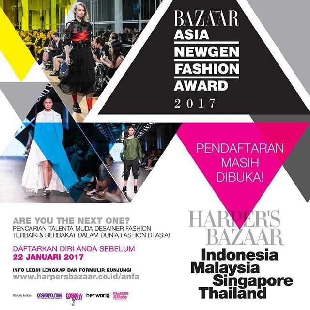 Harpers BAZAAR Indonesia kembali menyelenggarakan Asia Newgen Fashion Award (ANFA) 2017. Pendaftaran masih dibuka hingga 22 Januari 2017. Untuk mengisi formulir aplikasi dan info lebih lanjut silakan mengunjungi http://ift.tt/2iUrCro #BazaarIndonesia #anfa_id2017  via HARPER'S BAZAAR INDONESIA MAGAZINE OFFICIAL INSTAGRAM - Fashion Campaigns  Haute Couture  Advertising  Editorial Photography  Magazine Cover Designs  Supermodels  Runway Models