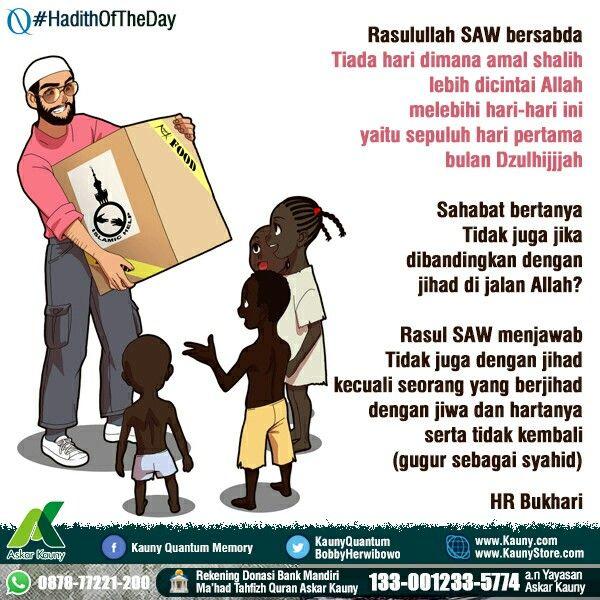 #HadithOfTheDay di awal Dzulhijjah ini, mari berlomba beramal shalih. Berpuasa, sedekah, berdzikir, tilawah, tadabbur, menghafal, silaturrahim untuk ridhoNya