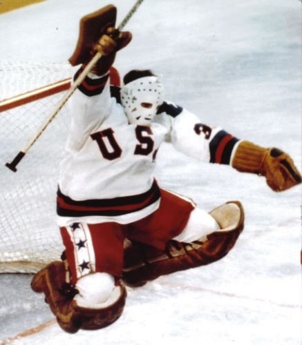 Jim Craig 1980 USA Olympic Ice Hockey Miracle on Ice 8x10 Leaping Victory