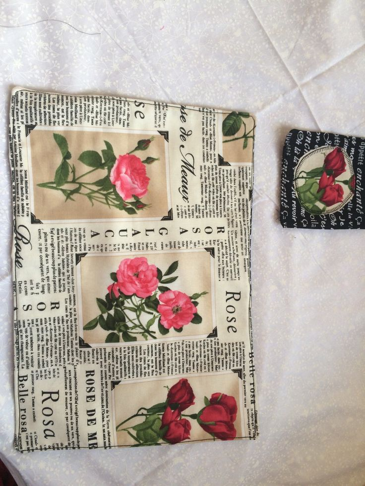 Rose placemats and appliqued rose coasters by TeaBagEmbroidery on Etsy https://www.etsy.com/listing/250905059/rose-placemats-and-appliqued-rose