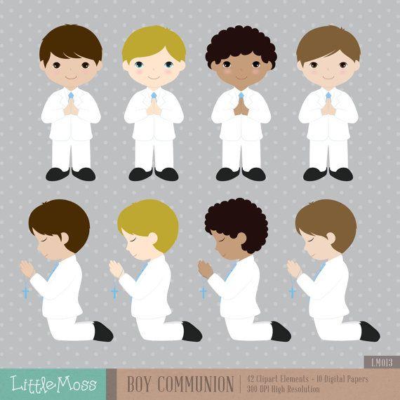 Niño primera comunión Digital Clipart y papeles por LittleMoss
