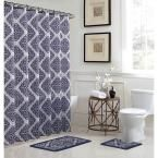 Camille 18 in. W x 30 in. L Bath Rug Set and 72 in. W x 72 in. L Shower Curtain Set in Grey, Gray
