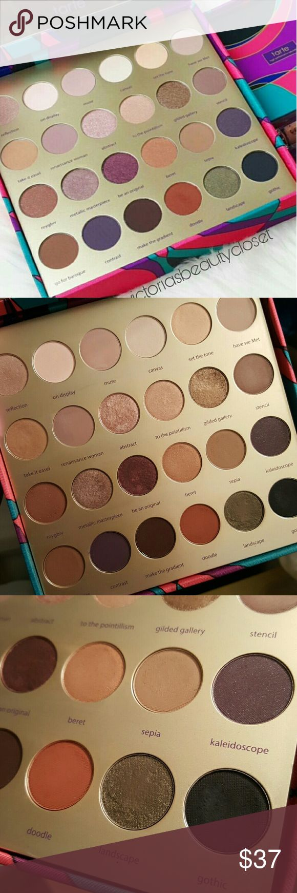 Tarte Holiday Collection eye shadow palette Used twice /all eyeshadows but 1 or 2 have been swatched Just dont reach for it as much Part of tarte's 2016 Holiday Collection Does NOT INCLUDE the rest of the kit Eyeshadows only Mix of mattes & mattallics Has streaks on gold part from me trying to clean it Has a side slot to store lipstick, brushes, etc OFFERS WELCOME tarte Makeup Eyeshadow
