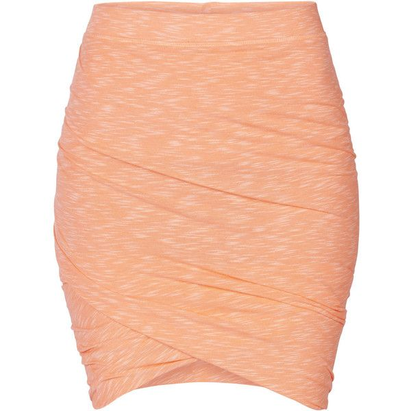 ONLY Twist Skirt ($11) ❤ liked on Polyvore featuring skirts, mini skirts, bottoms, faldas, gonne, neon orange, orange skirt, tall skirts, neon skirt ve red skirt