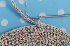 Single crochet around clothesline rope for a great rug.