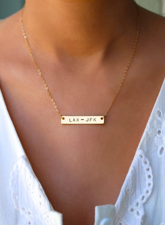 Custom Airport Code Gold Bar Necklace Travel By CharmedTraveler