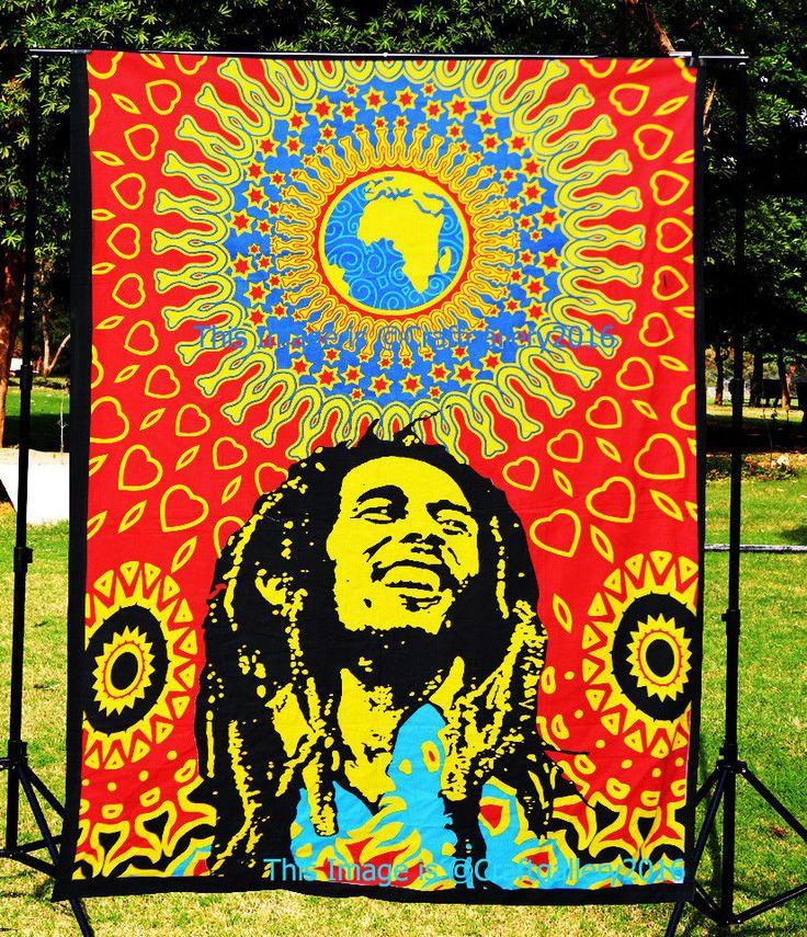 Bob Marley Hippie Wall Hanging Tapestry Bohemian Home Decor Bedspread Beach Mat