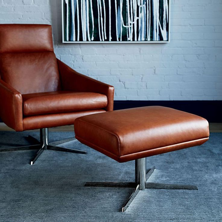 Austin leather ottoman west elm canada in 2020 leather