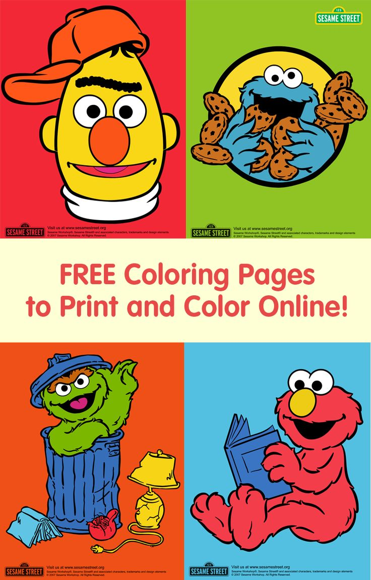 Paint pages to color online - Does Your Child Love Bert Cookie Monster Oscar Elmo And The Rest Of The Print And Share Free Sesame Street Coloring Pages