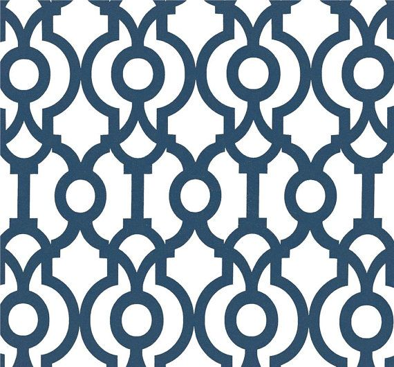 Designer Drapery Fabric Navy Blue By The Yard Geometric Upholstery Fabric Contemporary Modern Nautical