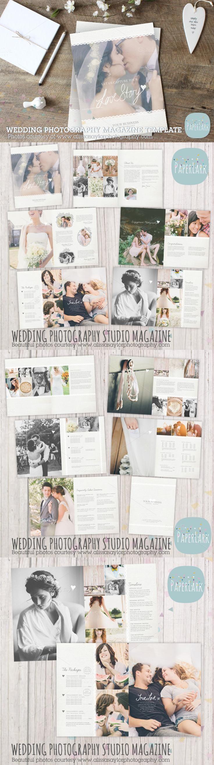 #magazine #design from Paper Lark | DOWNLOAD: https://creativemarket.com/PaperLarkDesigns/552407-PG009-Wedding-Photography-Magazine?u=zsoltczigler