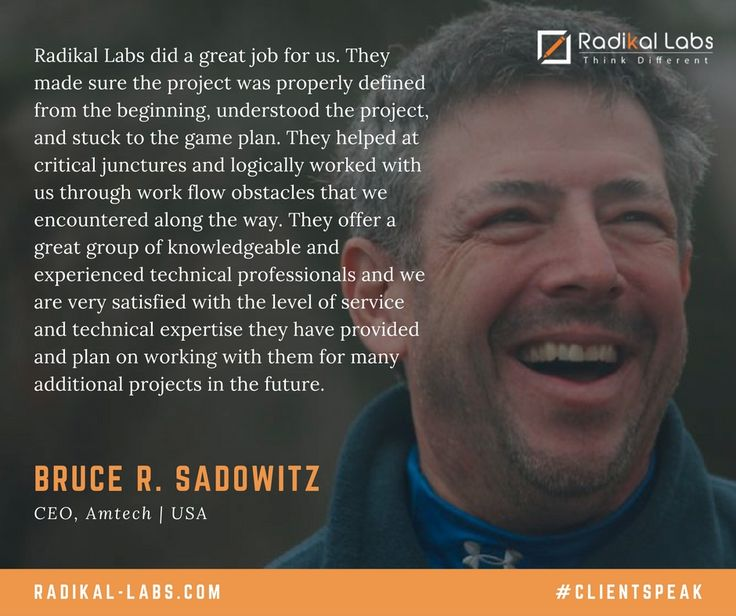 Check out what Bruce R. Sadowitz| CEO, Amtech has to say about working with Radikal Labs. #ClientSpeak