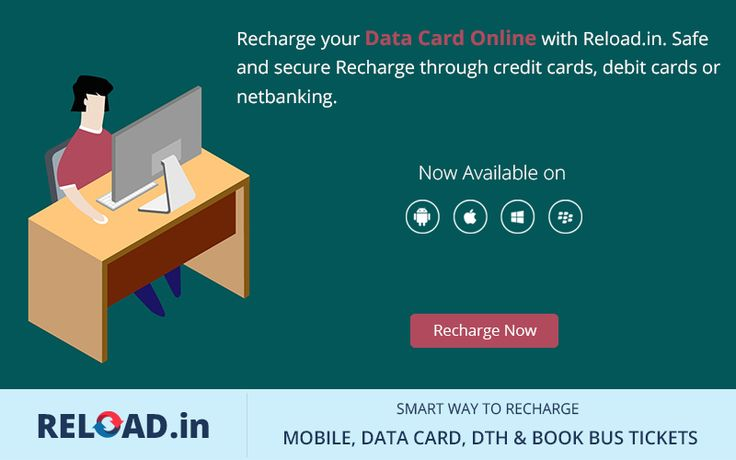Recharge your Data Card Online with Reload.in. Safe and secure Recharge through credit cards, debit cards or netbanking. Visit @ www.Reload.in/datacard/