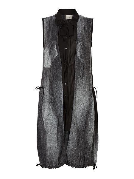 Shadow print tie neck tunic top with pockets Crea Concept