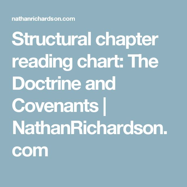 Structural chapter reading chart: The Doctrine and Covenants | NathanRichardson.com