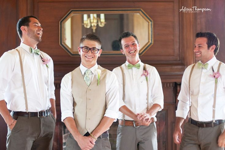 Vest vs. Suspenders. This is a great idea to set apart the groom, the best man or anyone you want to stand out while preserving the colors.