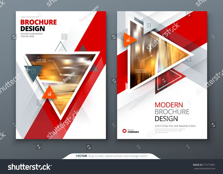 Brochure template layout design. Corporate business annual report, catalog, magazine, flyer mockup. Creative modern bright concept with triangle shapes annual#business#catalog#report
