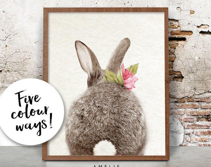 Kunst aan de muur kinderkamer konijn Print Decor van bossen
