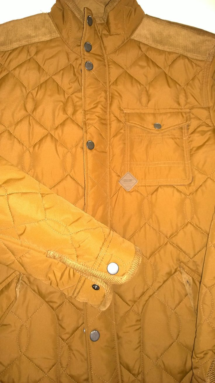 Next Authentic Quilted Tan Brown Stand Up Collar Elbows Patches Jacket Size L | eBay