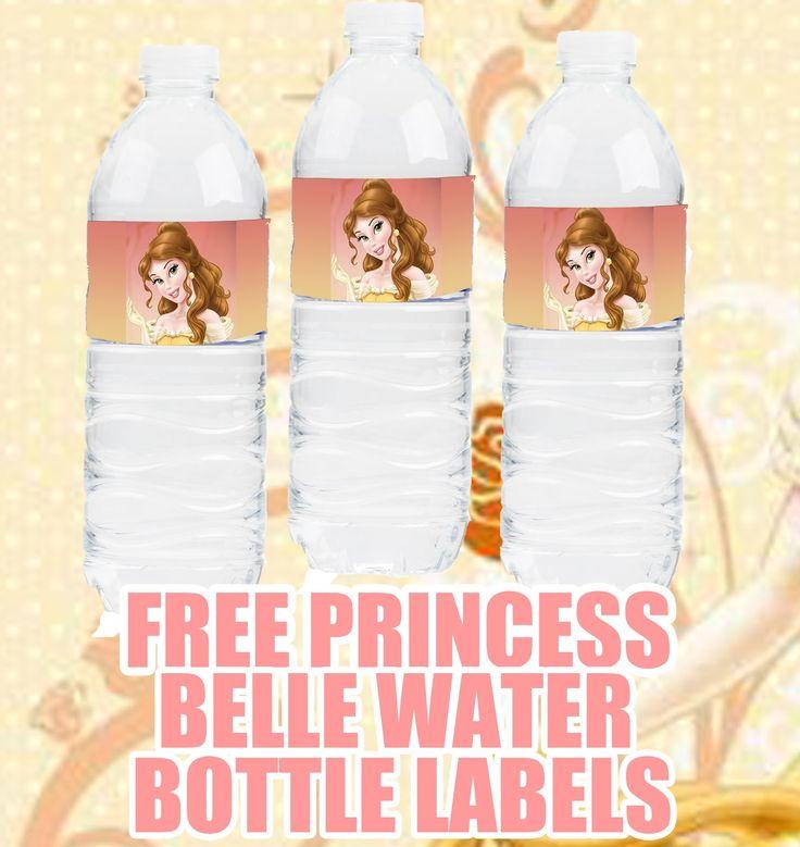 FREE Disney Princess Belle Birthday Party Printable Cupcake, banner, water bottle printables