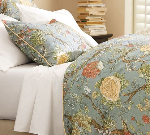 guest bedroom bedding-pair with light solid sheets or perhaps muted neutral stripe.  Wells Palampore Duvet Cover & Sham - Blue | Pottery Barn