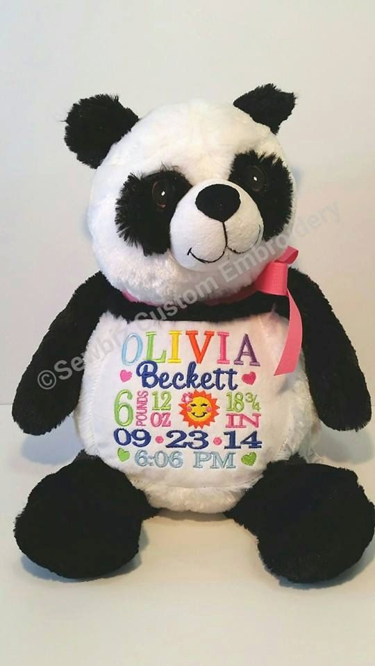 19 best embroidery buddy images on pinterest baby announcements personalized baby gift stuffed animal panda stuffed animal monogrammed stuffed animalbirth announcement stuffed animal negle Image collections