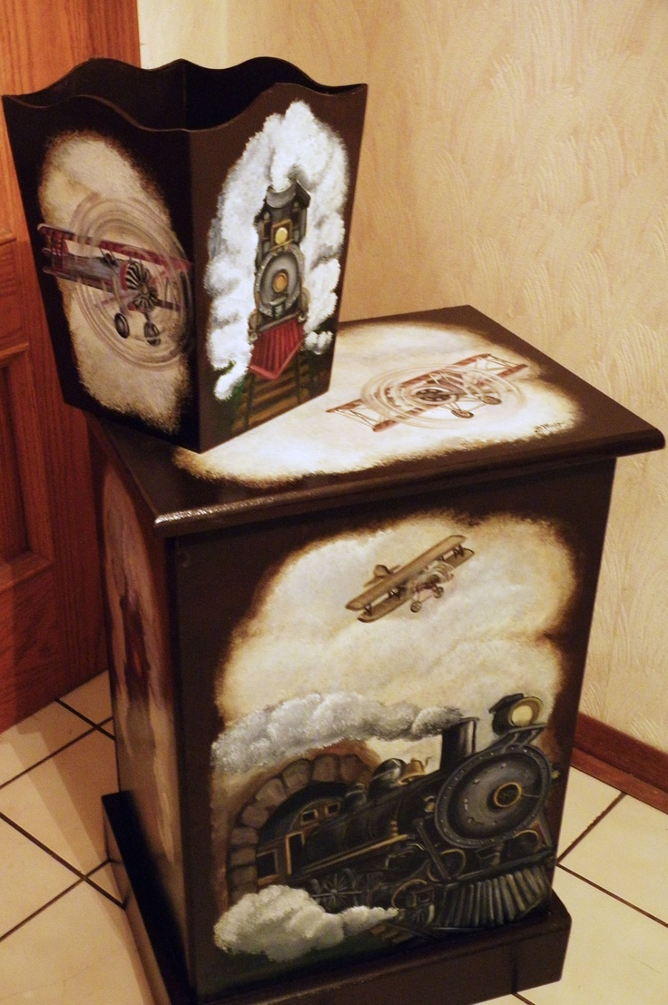 Custom designed Wooden Hamper and Wastebasket with vintage train theme or any theme to compliment the decor.