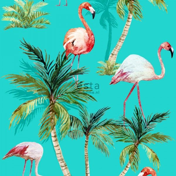 wallpaper XXL Flamingos 158609 #ESTAhome #behang #tropical #tropisch #palmbomen #turquoise #vogels #birds #zomer #ESTA