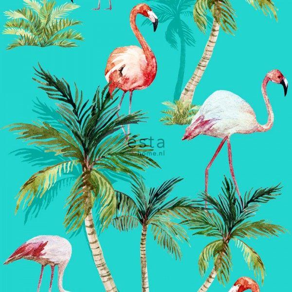 158609 non-woven wallpaper XXL Flamingos